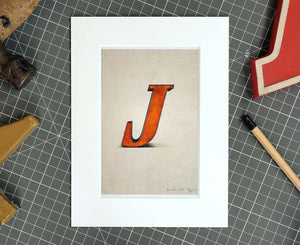 Letter J Salvaged Signage postcard