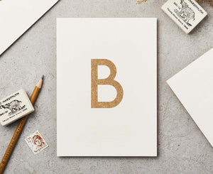 Letter B Copper Ink Postcard