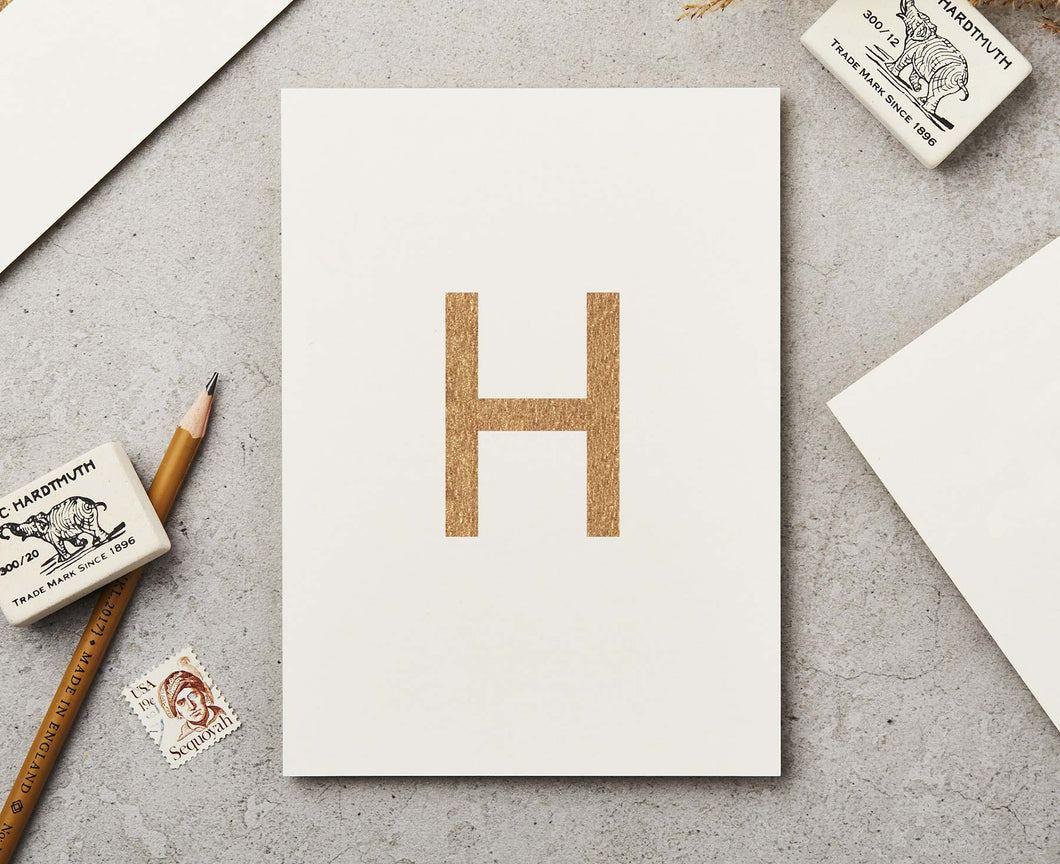 Letter H Copper Ink Postcard