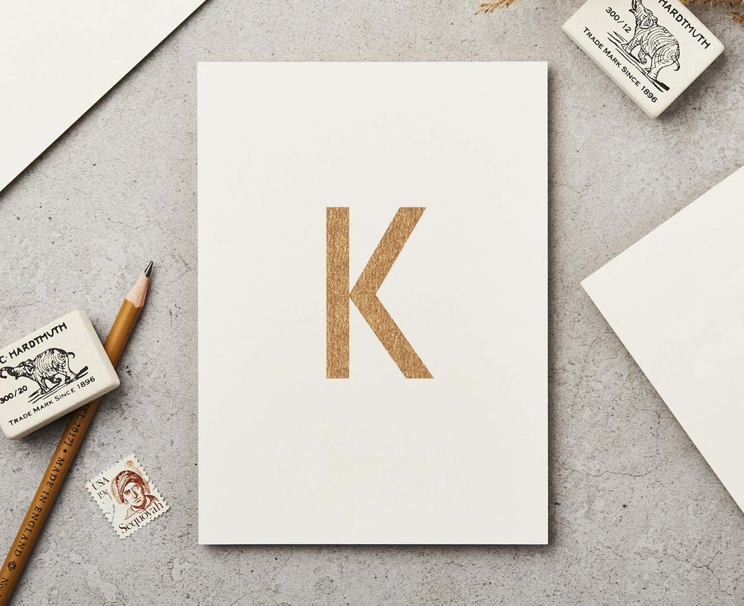 Letter K Copper Ink Postcard