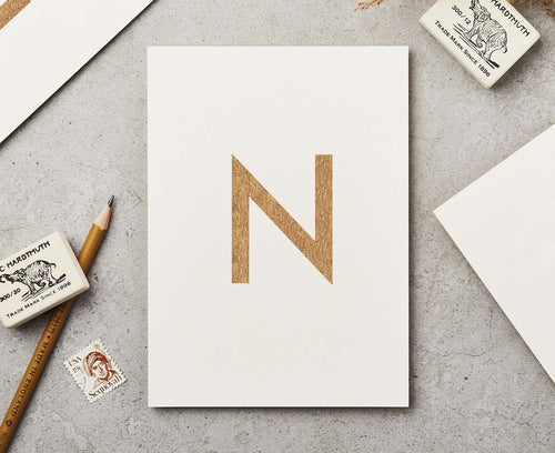 Letter N Copper Ink Postcard