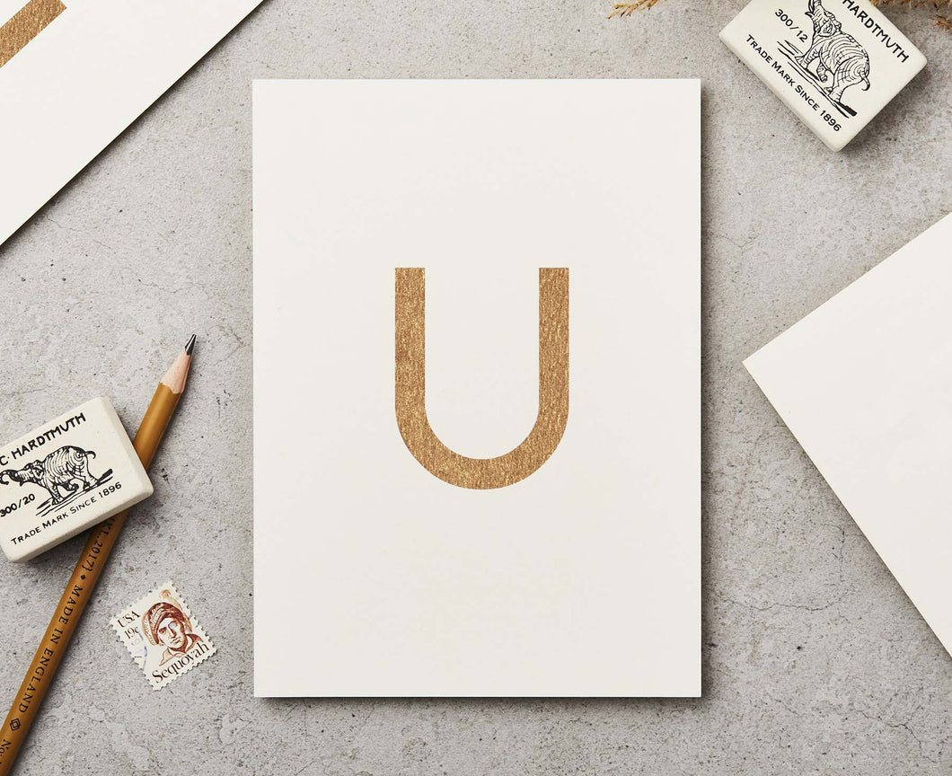 Letter U Copper Ink Postcard