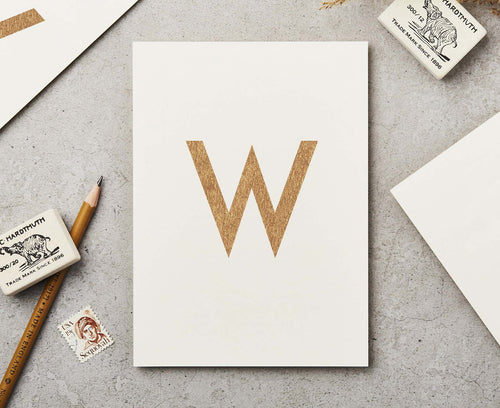 Letter W Copper Ink Postcard