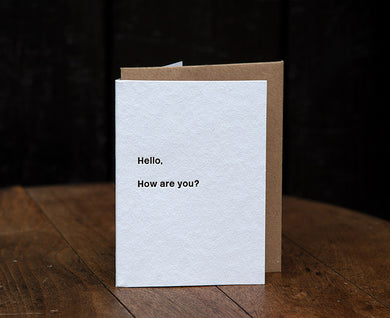 Hello, How Are You Letterpress Card