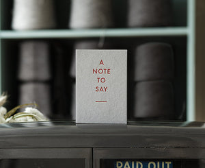 A Note To Say Letterpress Card