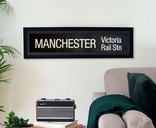 Manchester Victoria Rail Station Framed Bus Blind