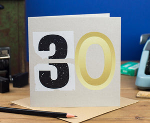 30th Birthday Number Card