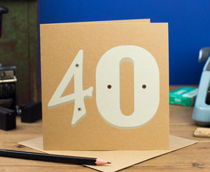 40th Birthday Number Card