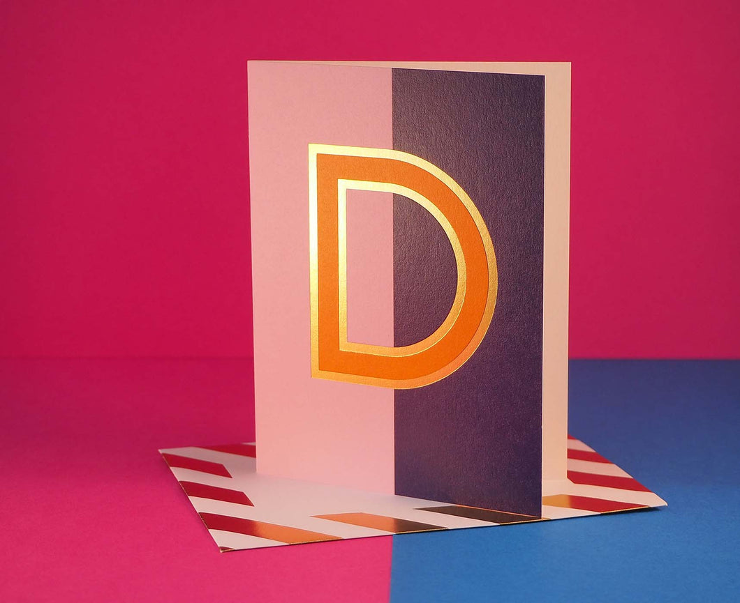 Nixie D foiled letter card