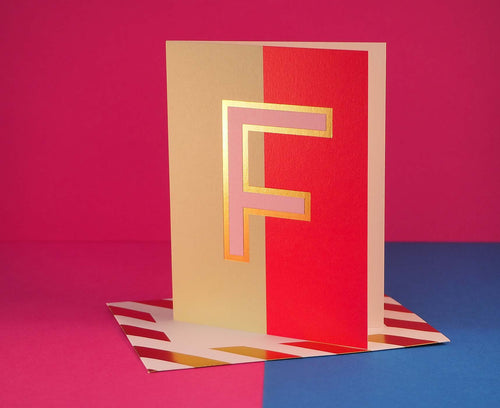 Nixie F foiled letter card