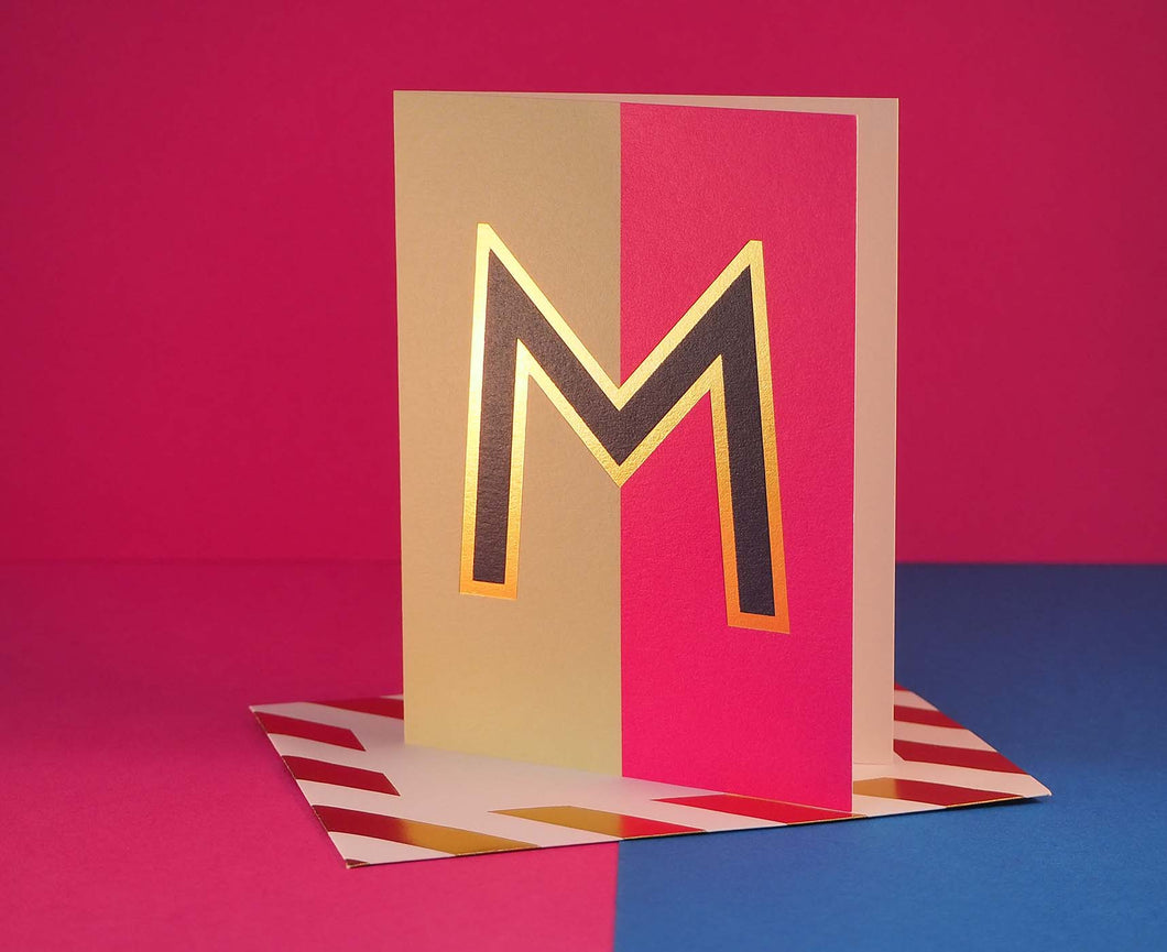 Nixie M foiled letter card