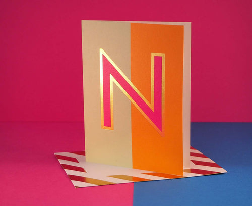 Nixie N foiled letter card