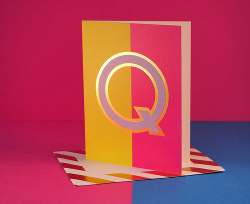 Nixie Q foiled letter card