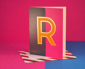 Nixie R foiled letter card