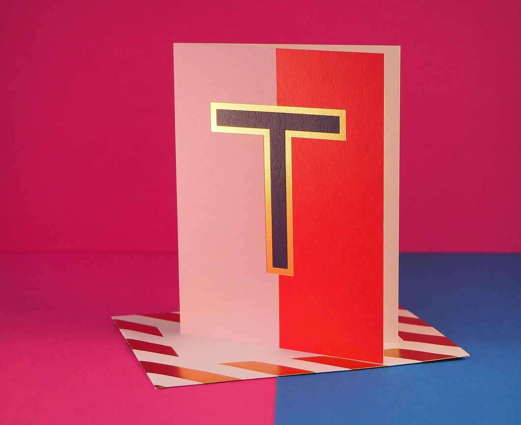 Nixie T foiled letter card