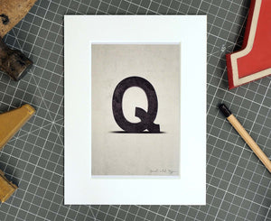 Letter Q Salvaged Signage postcard