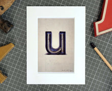 Letter U Salvaged Signage postcard