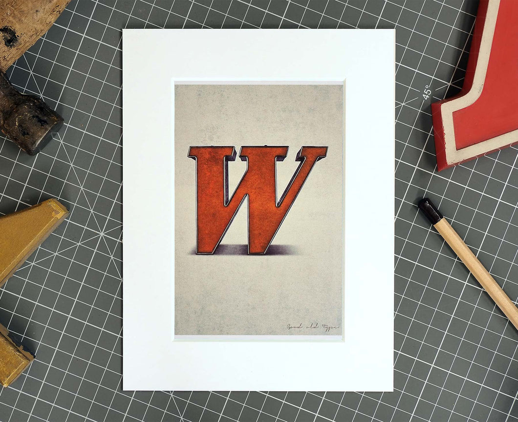 Letter W Salvaged Signage postcard