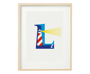 Letter L lighthouse print