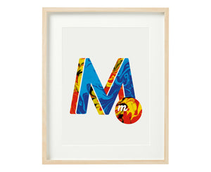Letter M marble print