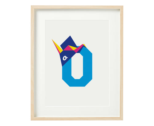 Letter O origami print