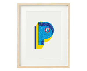 Letter P pool party print
