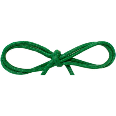 "Wholesale Waxed Cotton Thin Round Dress Laces 1/8"" - Kelly Green (12 Pair Pack) Shoelaces from Shoelaces Express"