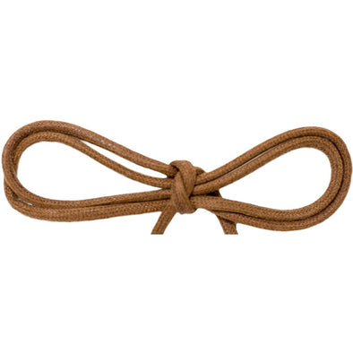"Wholesale Waxed Cotton Thin Round Dress Laces 1/8"" - Light Brown (12 Pair Pack) Shoelaces from Shoelaces Express"