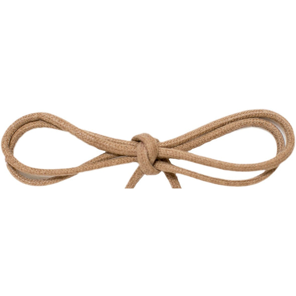 "Waxed Cotton Thin Round 1/8"" Dress Laces - Tan (2 Pair Pack) Shoelaces from Shoelaces Express"