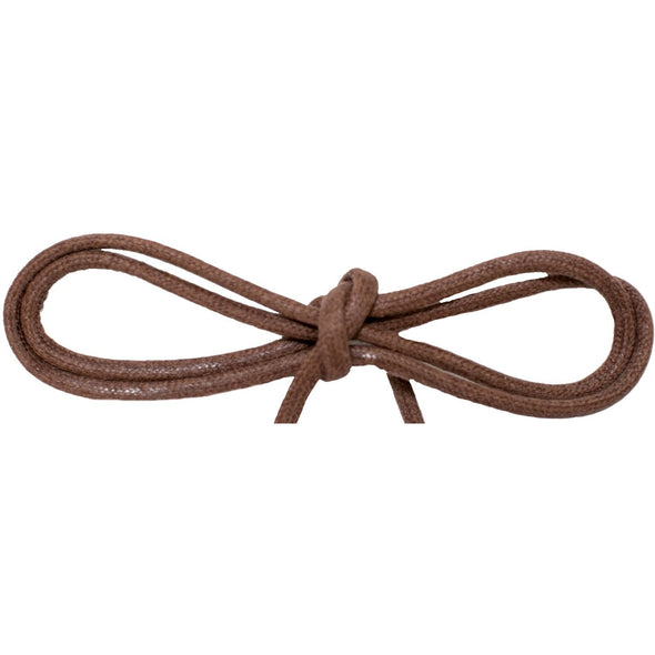 "Wholesale Waxed Cotton Thin Round Dress Laces 1/8"" - Brown (12 Pair Pack) Shoelaces from Shoelaces Express"