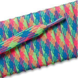 Flat Athletic Laces - Neon Rainbow (2 Pair Pack) Shoelaces from Shoelaces Express