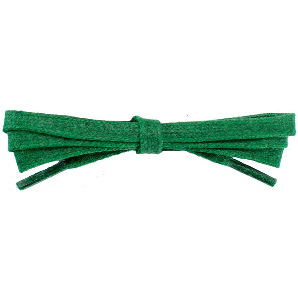 Waxed Cotton Flat Dress Laces 12 Pack - Kelly Green (12 Pair Pack) Shoelaces from Shoelaces Express