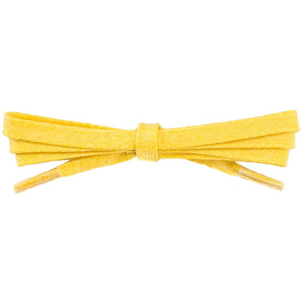 Waxed Cotton Flat Dress Laces - Yellow (2 Pair Pack) Shoelaces from Shoelaces Express