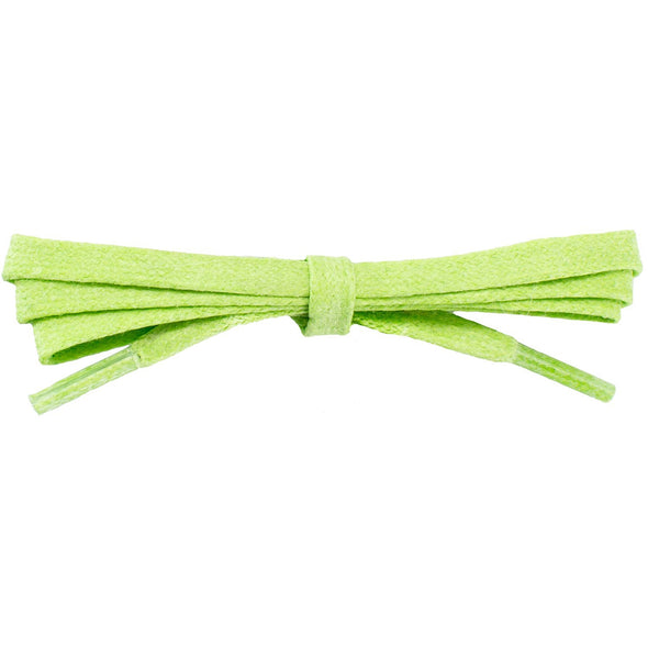 Waxed Cotton Flat Dress Laces - Lucky Lime (2 Pair Pack) Shoelaces from Shoelaces Express