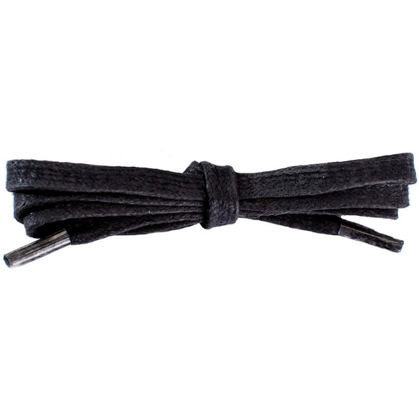 Waxed Cotton Flat Dress Laces 12 Pack - Black (12 Pair Pack) Shoelaces from Shoelaces Express
