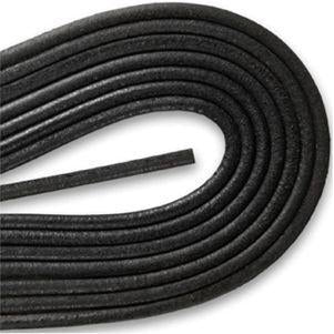 Round Smooth Leather Laces - Black (1 Pair Pack) Shoelaces from Shoelaces Express