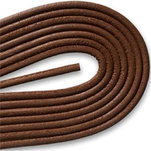 Round Smooth Leather Laces - Medium Brown (1 Pair Pack) Shoelaces from Shoelaces Express