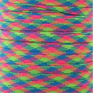 Flat Tubular Athletic Neon Rainbow Plaid Custom Length