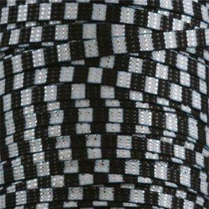 Glitter Flat Laces Custom Length with Tip - Black/White Stripe (1 Pair Pack) Shoelaces from Shoelaces Express
