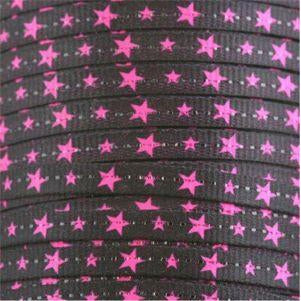 Spool Glitter Flat Hot Pink Stars on Black 144 Yards