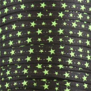Spool - Glitter Flat - Neon Green Stars on Black (144 yards) Shoelaces from Shoelaces Express