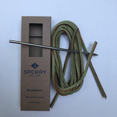 Sperry Square Leather Lace and Needle Kit includes Leather Lacing Needle - Burnt Sienna (1 Pair Pack) Shoelaces from Shoelaces Express