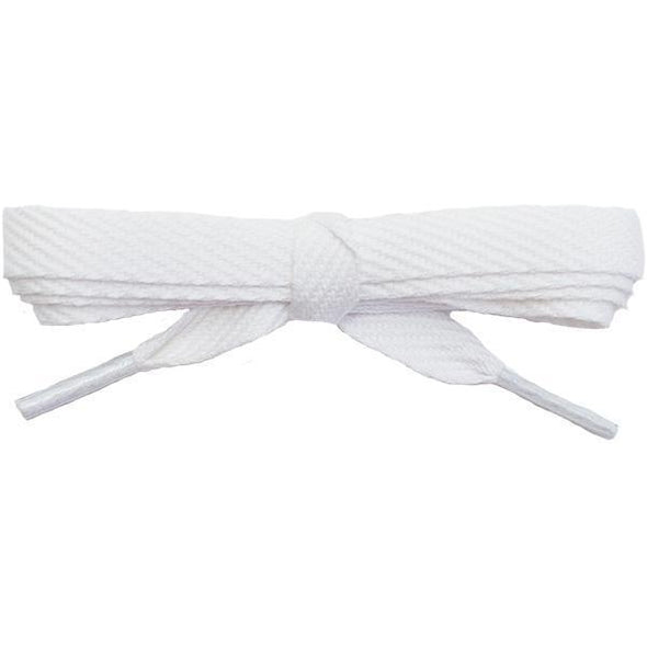 "Wholesale Cotton Flat 3/8"" - White (12 Pair Pack) Shoelaces from Shoelaces Express"