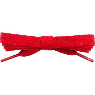 "Cotton Flat 3/8"" Laces Custom Length with Tip - Red (1 Pair Pack) Shoelaces Shoelaces from Shoelaces Express"