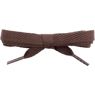 "Cotton Flat 3/8"" Laces Custom Length with Tip - Brown (1 Pair Pack) Shoelaces Shoelaces from Shoelaces Express"