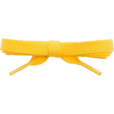 "Cotton Flat 3/8"" Laces Custom Length with Tip - Gold (1 Pair Pack) Shoelaces Shoelaces from Shoelaces Express"