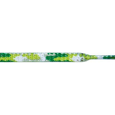 "Glitter Flat 1/4"" - Green Camouflage (12 Pair Pack) Shoelaces from Shoelaces Express"