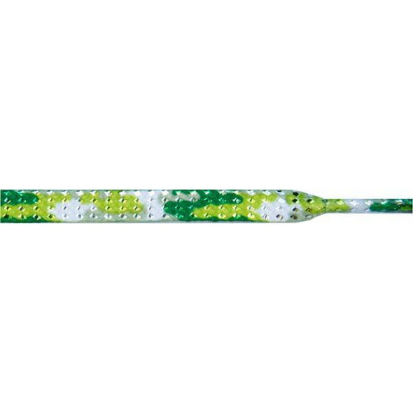 "Glitter 1/4"" Flat Laces - Green Camouflage (1 Pair Pack) Shoelaces from Shoelaces Express"