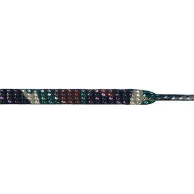"Glitter 1/4"" Flat Laces - Olive Green Camouflage (1 Pair Pack) Shoelaces from Shoelaces Express"