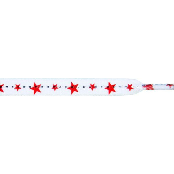 Stars Laces - Red Stars on White (1 Pair Pack) Shoelaces from Shoelaces Express
